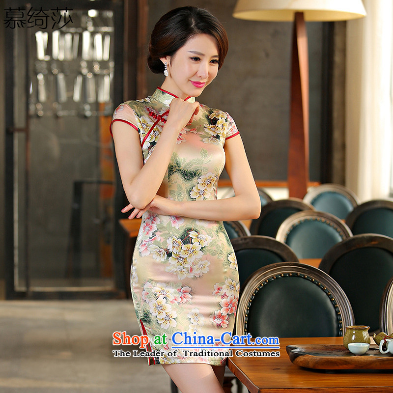 The cheer her curtain meng 2015 New Silk Cheongsam cheongsam dress improved retro summer daily cheongsam dress SZ S2237 XL