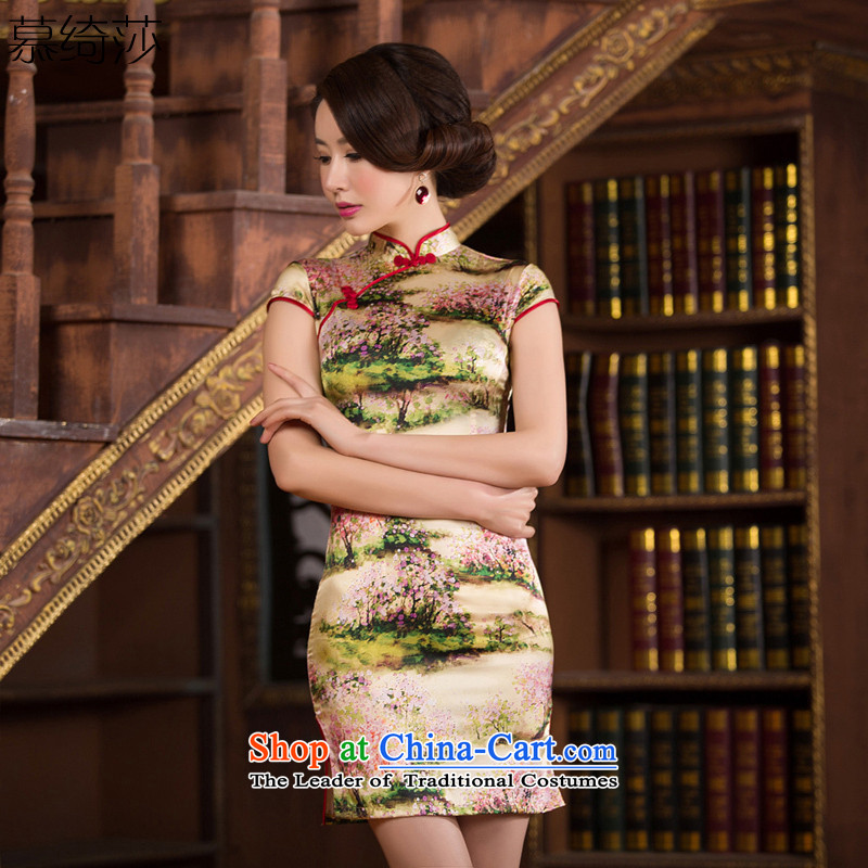 The cheer her floral arrangements聽silk cheongsam dress 2015 summer short qipao improved retro couture cheongsam dress聽SZ S2238 M
