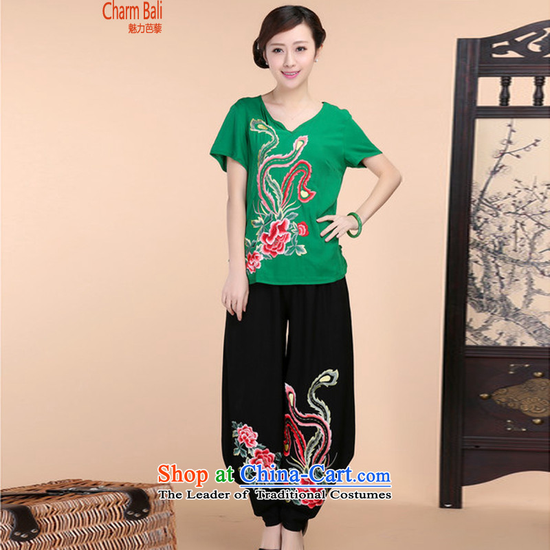 2015 Summer retro Sau San Tong load embroidery Short Sleeve V-Neck short-sleeved T-shirt relaxd casual pants two-piece set with green package XXL