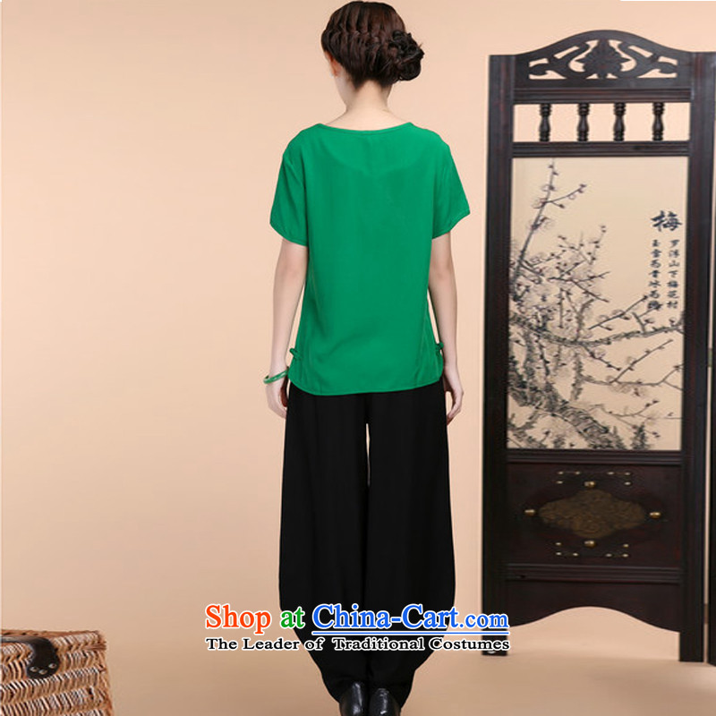 2015 Summer retro Sau San Tong load embroidery Short Sleeve V-Neck short-sleeved T-shirt relaxd casual pants two-piece set with green kit and Asia (XXL, charm charm of Bali shopping on the Internet has been pressed.