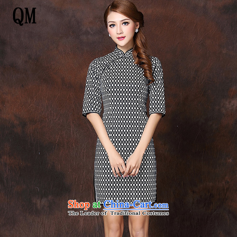 The national air improvement in short-sleeved Stylish retro qipao?XWG141005?map color?L