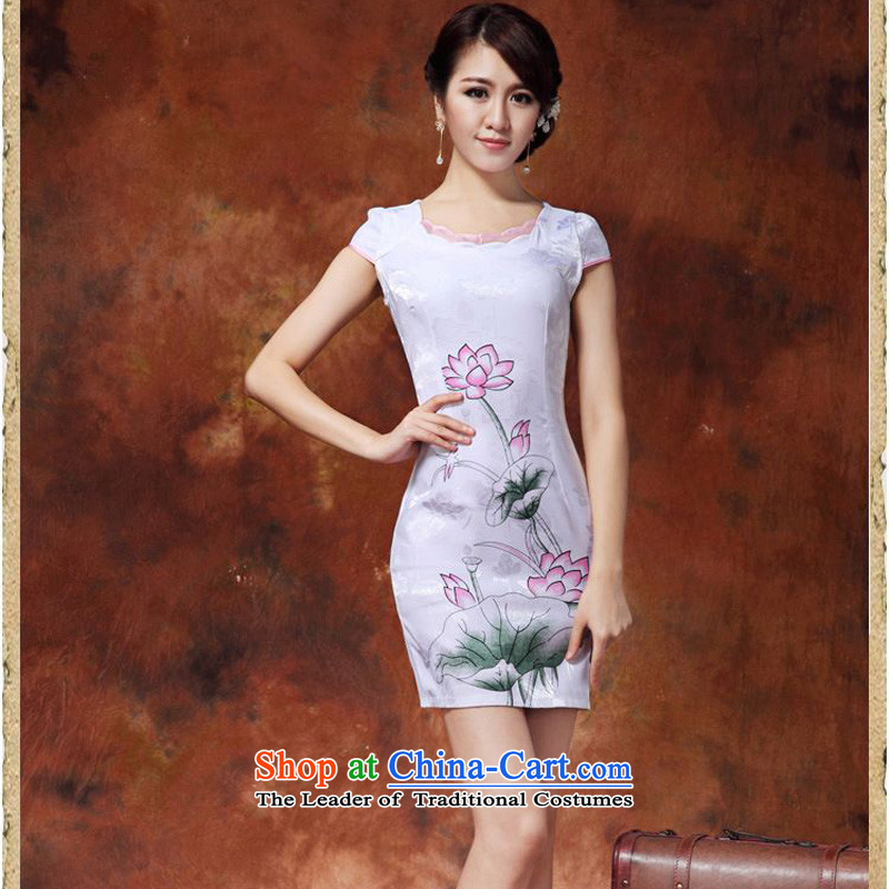2015 Summer forest narcissus new improved qipao white lotus retro short, Sau San Tong JAYT-36 replacing white qipao Lotus XXL
