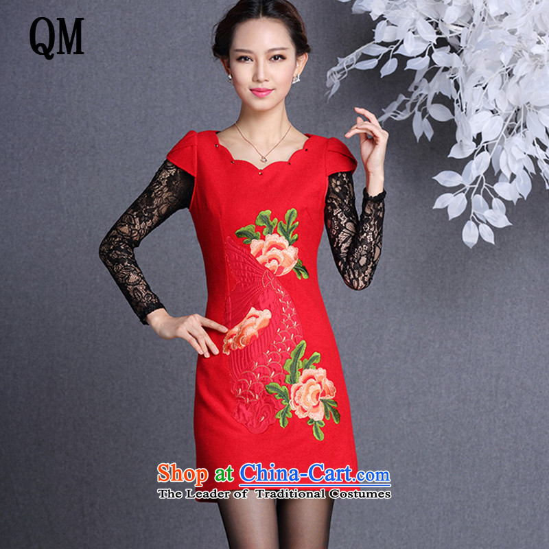 At the end of light and stylish ethnic embroidery improved wool forming the short skirts qipao? female?XWG13054?RED?S