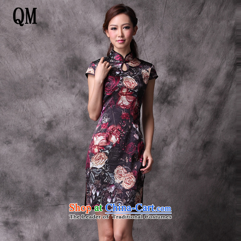 At the end of light Silk Cheongsam short of improved Stylish retro Chinese upscale counters flag XWG1208-14 map color M