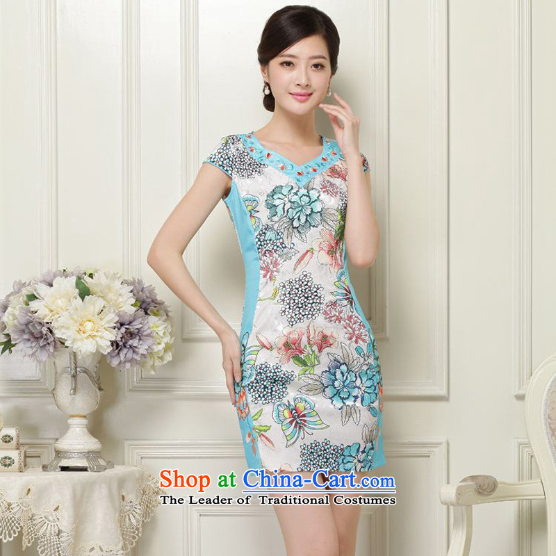 2015 Summer forest narcissus new retro suit V-Neck short-sleeve of the forklift truck without petticoats package and short of Sau San Tong JAYT-31 replace mat of Qipao XXL