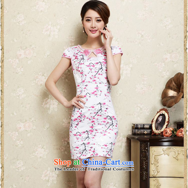 2015 Summer forest narcissus new retro style qipao emblazoned with the Phillips-head short of improved package and video thin Sau San Tong JAYT-30 replacing white qipao toner flower?XXL