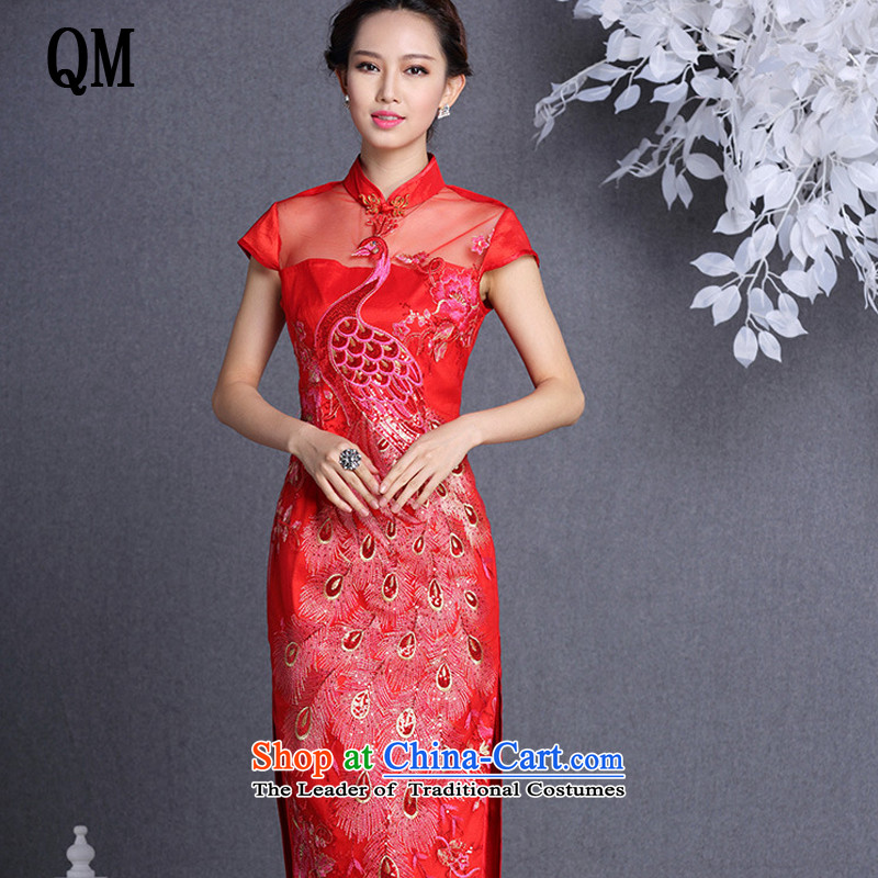 The end of the light of improved stylish gauze embroidery on chip banquet long qipao?XWG1309-22?RED?XXL