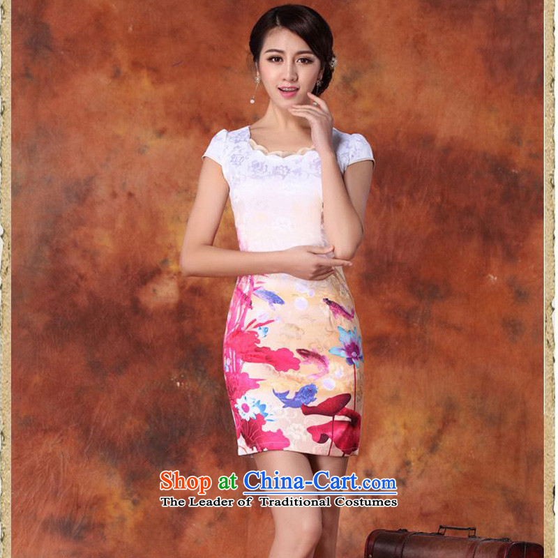 2015 Summer forest narcissus New Ink Painting fish south africa retro-lotus leaf floral round-neck collar and short of package Sau San Tong JAYT-29 replacing pink dresses M