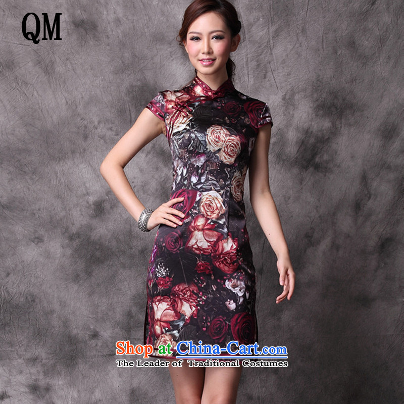 At the end of summer light and stylish retro improved new heavyweight silk CHINESE CHEONGSAM counters upscale cheongsam dress? XWG12018-21?map color?S