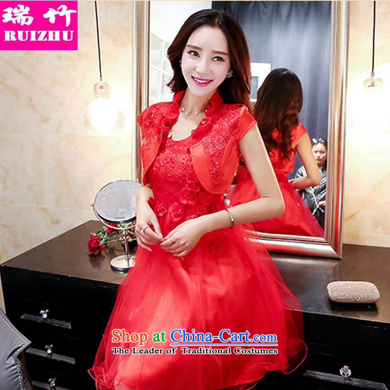 Rui Zhu 2015 spring, summer, autumn and load the new strap and Chest dinner dress sweet skirt Sau San flowers ceramic princess dresses Short Sleeve Jacket shawls small red two kits聽XL