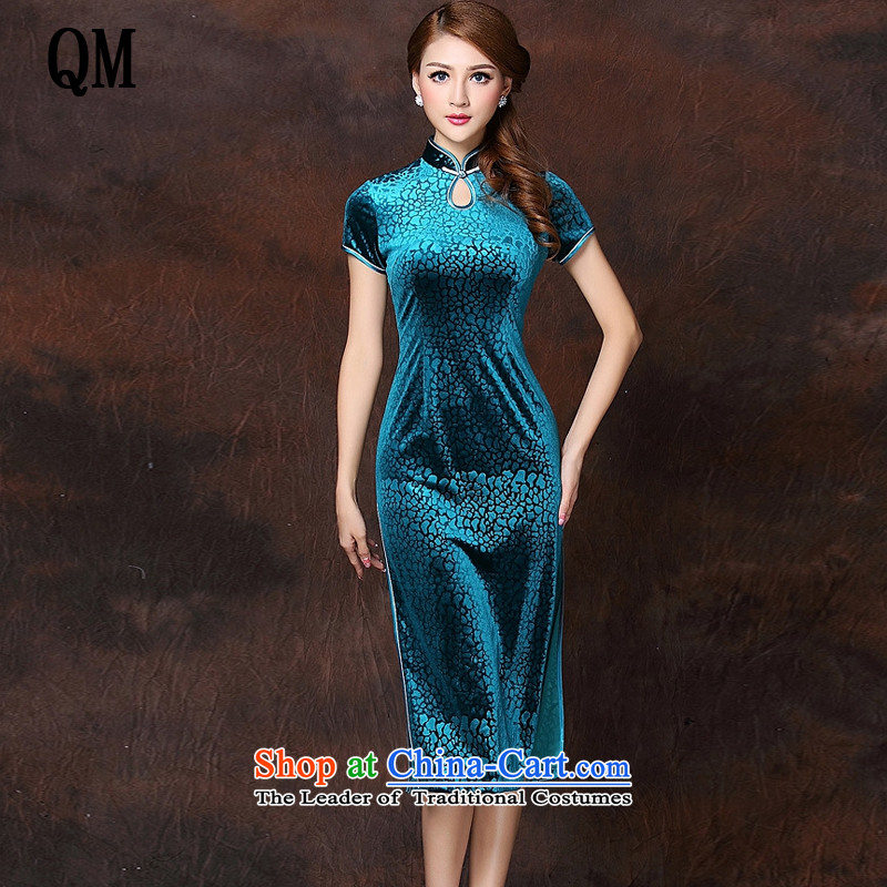 At the end of light and stylish retro low on improved Ms.'s day-to-day long qipao� XWG141026-1 velvet�blue lake�S