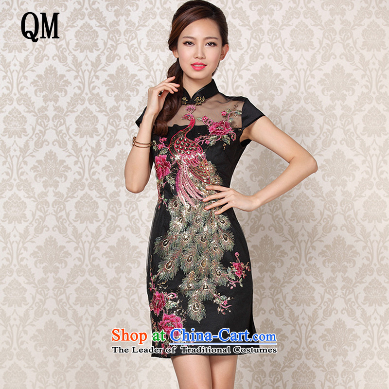At the end of light and stylish retro improved gauze embroidered ethnic short-sleeved banquet short qipao燲WG13-6089爉ap color燲XL