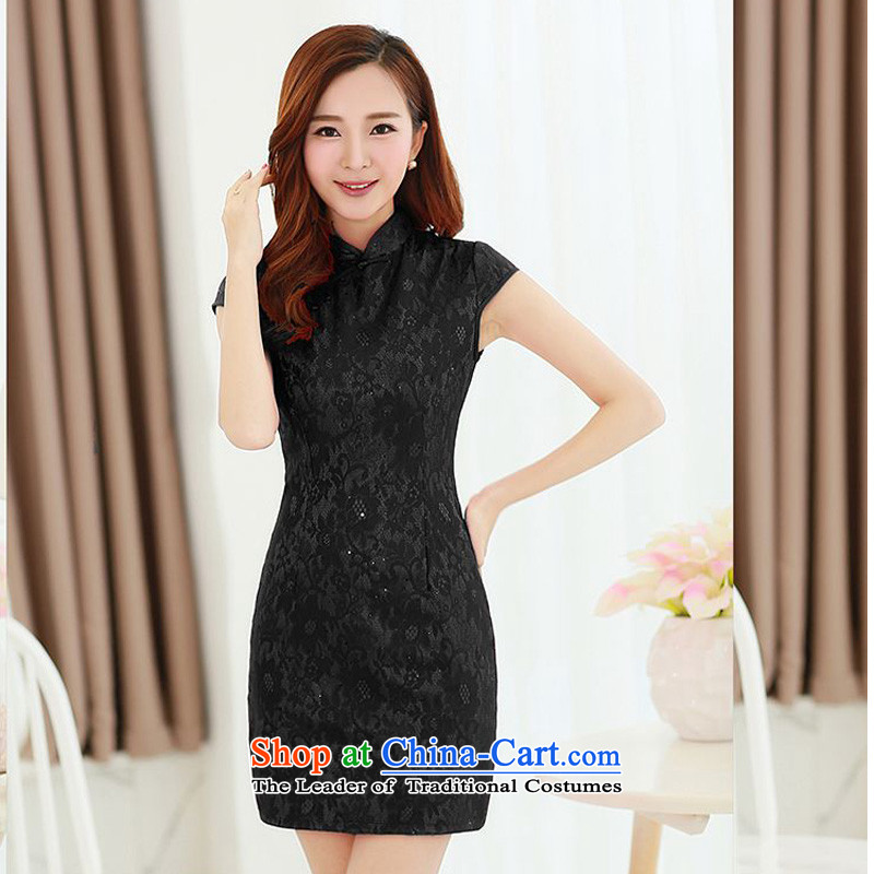 Forest Narcissus Summer 2015 on a new stylish and sophisticated retro-clip collar improved qipao and video thin package Sau San Tong JAYT-5 replacing black cheongsam�M