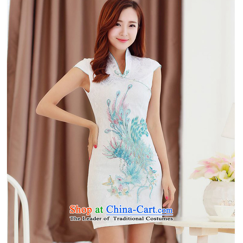 2015 Summer forest narcissus new improved retro cheongsam dress peacock ribbed collar snap-in Phnom Penh qipao JAYT-4 Tang dynasty white?S