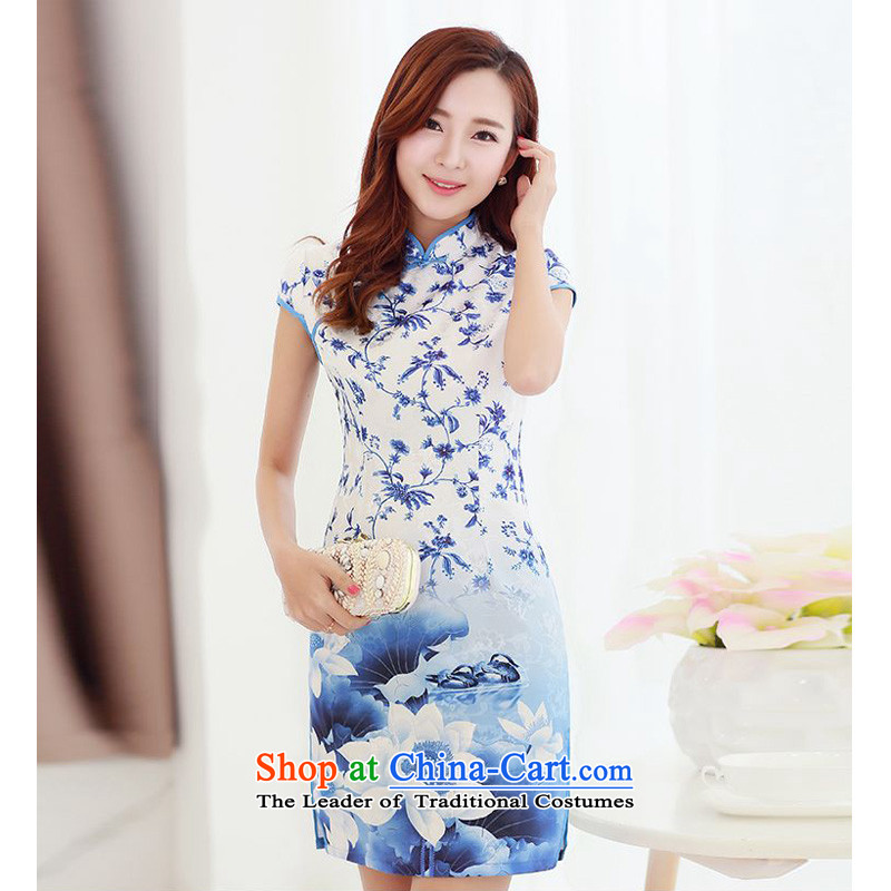 Forest Narcissus Summer 2015 on new ink streaking retro-Lotus detained Mock-neck improvement package and video qipao Sau San Tong JAYT-1 load thin cheongsam picture color S