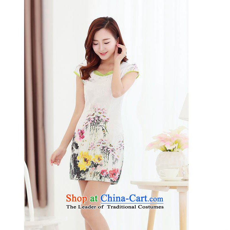 The 2015 summer-jae on new stylish and elegant qipao fresh water lily Mudan improved suit and video thin package Sau San Tong JAYT-2 replacing lotus qipao?M