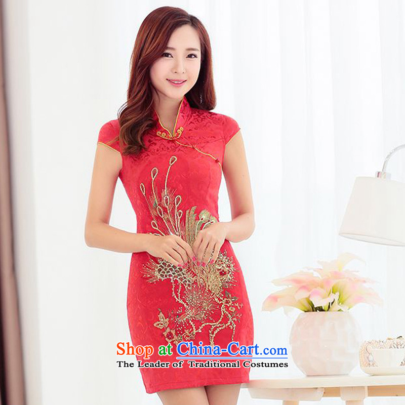 The 2015 summer-jae on new retro improved cheongsam dress peacock ribbed collar snap-in Phnom Penh qipao JAYT-4 Tang dynasty red S