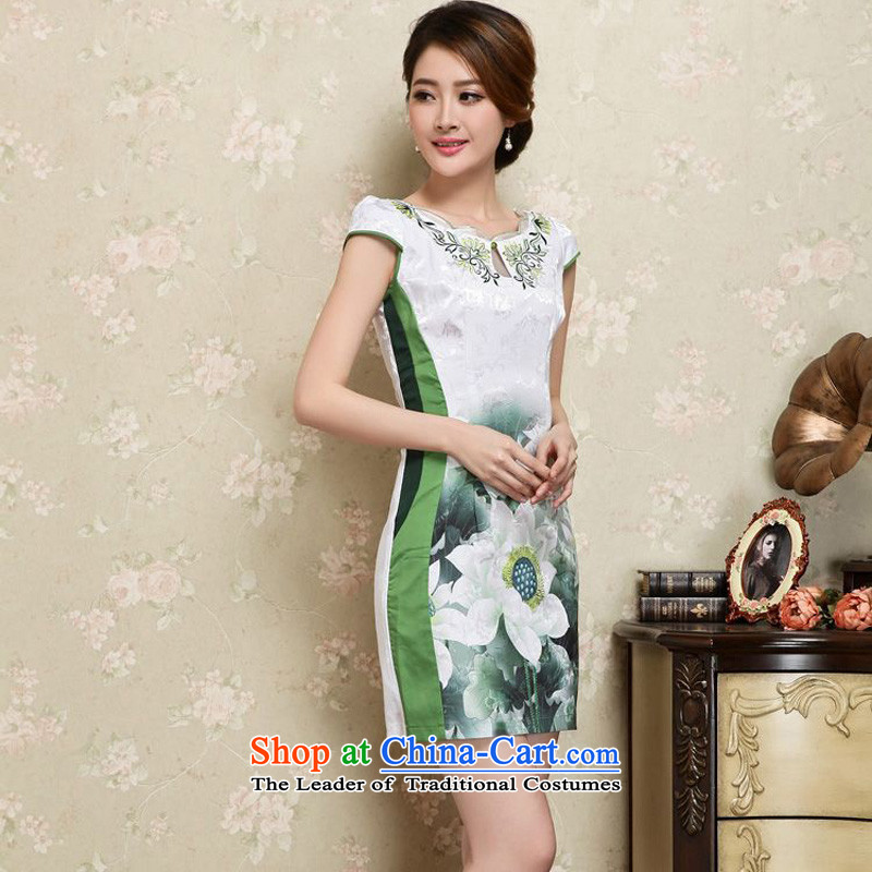 The 2015 summer-jae on new sleek white lotus fresh qipao improved ground short of Sau San package and video Tang dynasty qipao JAYT-25 thin green M