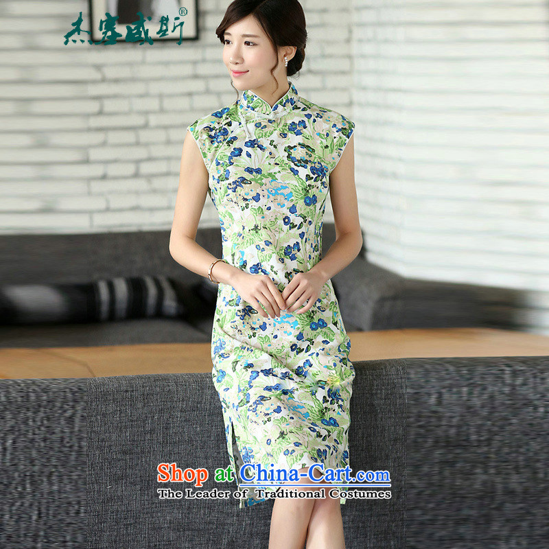 Jie in Wisconsin, summer new ethnic improved linen dresses manual disk   Detained cheongsam dress sleeveless Tsing out of the blue L