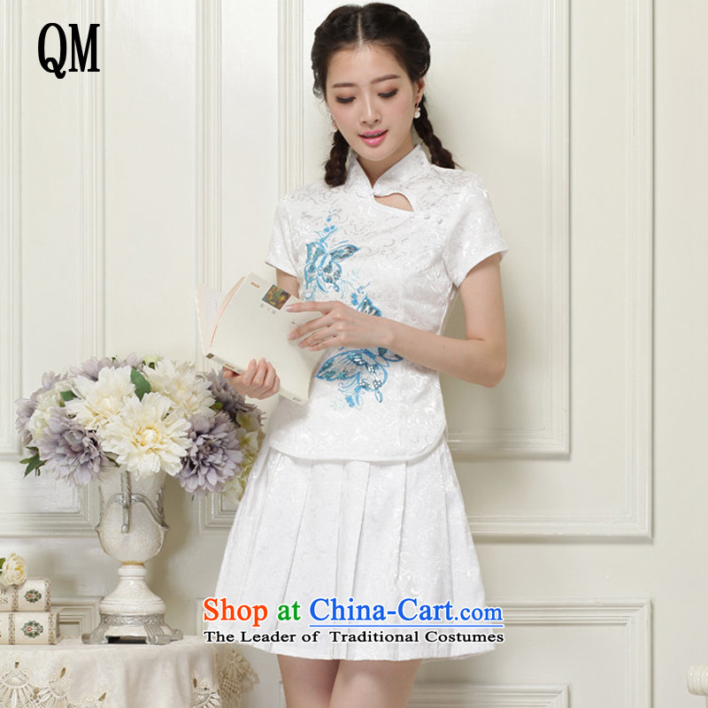 At the end of non-CHINESE CHEONGSAM collar wind no need to come to grips are short of two kits燡T988爓hite燬