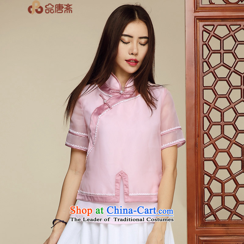 No. of Ramadan 2015 Tang Dynasty Tang retro Clothes Summer China wind women improved Han-ethnic short-sleeved T-shirt cheongsam pink?S