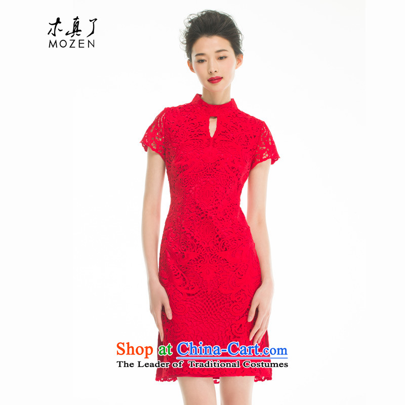 Wood in a wedding cheongsam dress really 2015 Summer new water-soluble embroidered wedding dress Bridal Services 43048 bows 04 Magenta聽XL