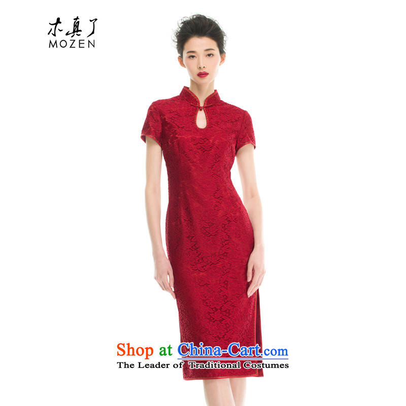 The 2015 summer wood really new dresses with long cheongsam with 43050 mother 04 deep red燲XL