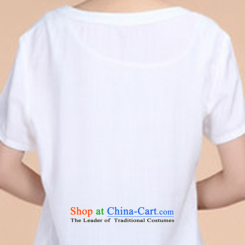 2015 Summer retro Sau San Tong load embroidery Short Sleeve V-Neck short-sleeved T-shirt relaxd casual pants two-piece set with white Kit , L, and Asia (charm charm of Bali shopping on the Internet has been pressed.