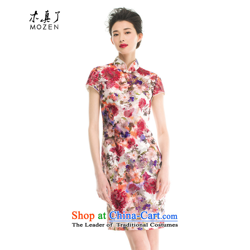 The cheongsam dress wood really OSCE root yarn stamp cheongsam dress for summer 2015 Chinese New women 53375 05 light red燬
