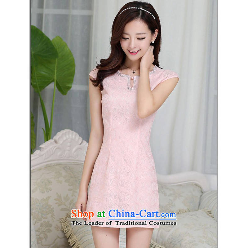 Forest Narcissus Summer 2015 on a new Korean Ladies lace elegant short of Sau San package and video thin dresses qipao Tang dynasty JAYT-23 pink XXL