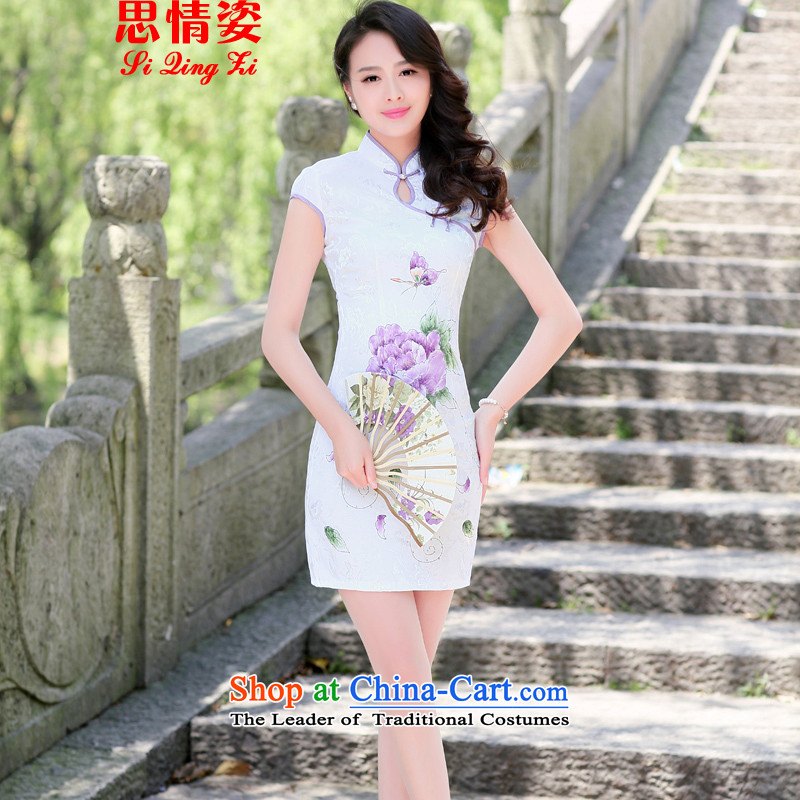 The 2015 Summer Scent Golan new improved chinese president elegant beauty cheongsam dress dresses summer first peony燬