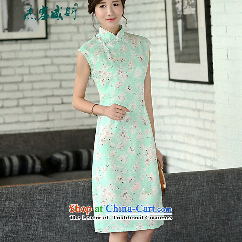 C.o.d. Jie of the summer for women retro stamp Sau San cheongsam dress improved collar word manually clip cotton linen dresses sleeveless Green Rose燤