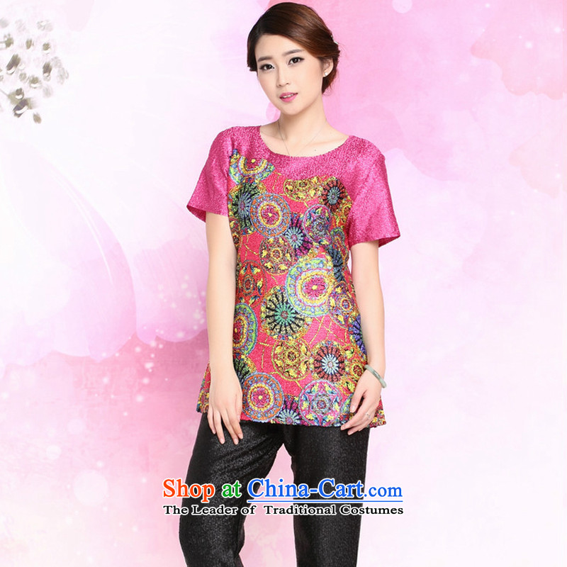 The 2015 summer-jae on the new liberal larger mother boxed silk shirt creases Tang T-shirts XYY-8328 ROSE?L