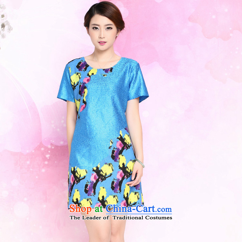 The 2015 summer-jae on the new Silk wrinkled with large relaxd mother Tang dynasty dresses XYY-8326?XXXL blue