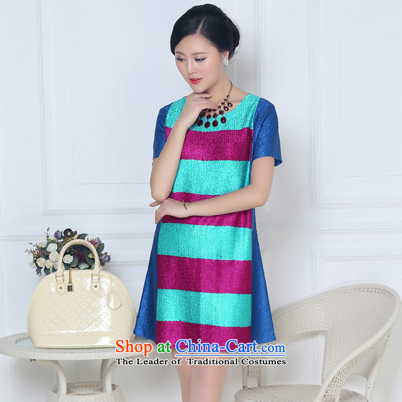 The 2015 summer-jae on the new liberal MOM pack silk folds large dresses XYY-8322?XXXL blue