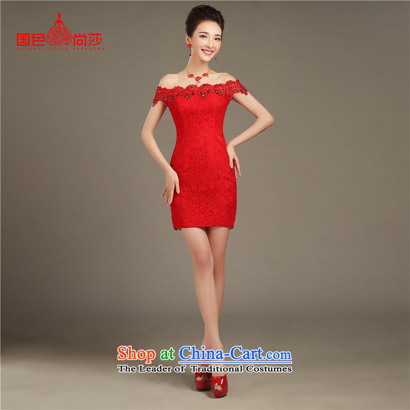 Service Bridal Spring 2015 followed the new red long word shoulder crowsfoot wedding dresses Sau San autumn and winter evening dress attractively short_ S