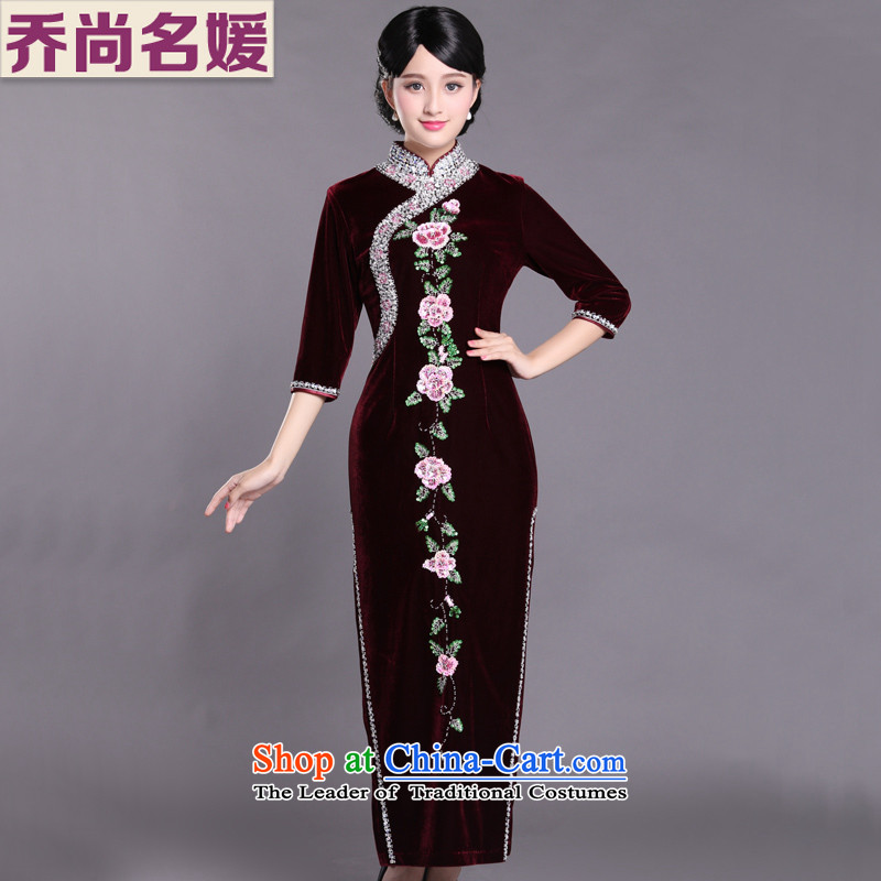 Her mother-in-law Kim dresses mother married cheongsam dress autumn load velvet female Tang dynasty LDH820 wine red _7 hours_ XL _2 feet cuff 4 back_