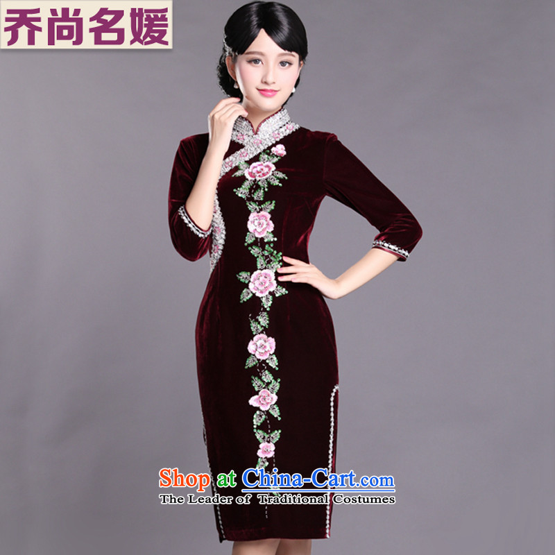 Upscale banqueting cheongsam dress in long wool, wedding Mother of Pearl River Delta retro C437 stapled wine red 7�ft 6 (2 XXXL cuff Lumbar)
