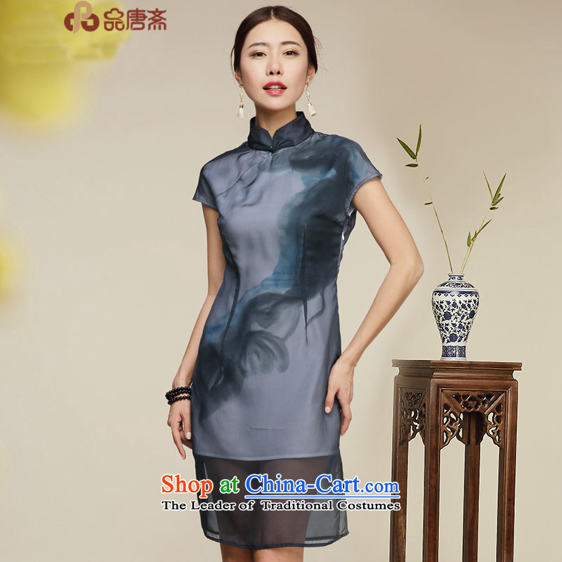 No. of Ramadan 2015 Summer Tang new dresses retro Sau San improved Ladies Bag and stylish cheongsam dress dark green燲L