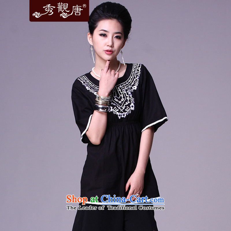 [Sau Kwun Tong] night it following ethnic women/Ms. Tang dynasty spring tea services improved picture color T-shirt G77151 M