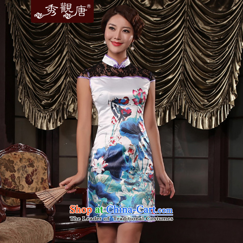 Yuanyang water summer new lace qipao stylish improved women's sexy dresses G13451 picture color?S