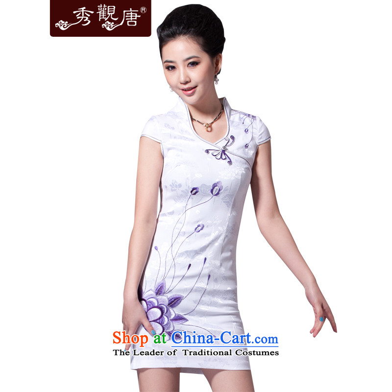 -Sau Kwun Tong- flower in the water improved embroidery cheongsam dress for summer 2015 Sleek and Sexy female G32198 White?M