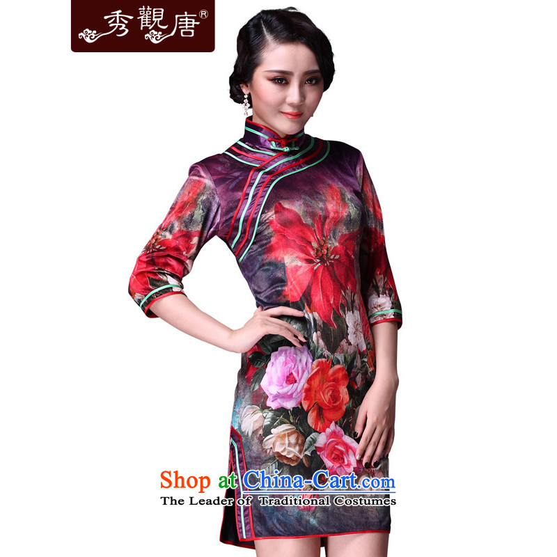 Sau Kwun Tong in the mood for classical mood videos in the autumn of Qipao_cuff improved retro-cashmere cheongsam dress _G92119?XXXL color picture