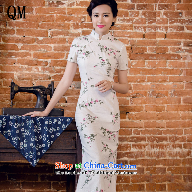 At the end of light women arts linen dresses manually disc detained stylish short-sleeved long low power's qipao?JT2063?day lilies?S