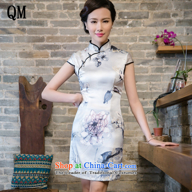 The end of the exclusive improved light silk retro herbs extract video thin cheongsam dress Sau San�JT5080�White�XL