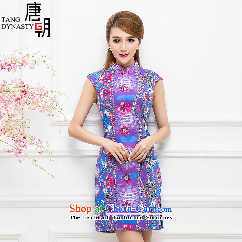 The Tang dynasty 2015 Summer new women's stylish Foutune of video thin improved daily cheongsam dress female TCF30177 purple chains gemstone�L