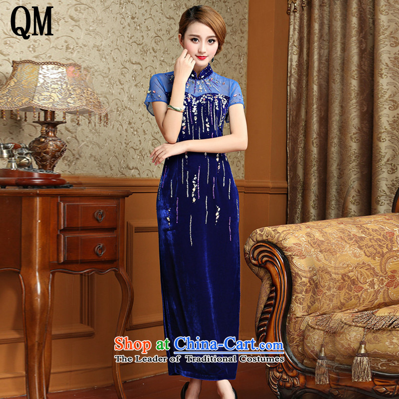 At the end of long-light gray velour cheongsam dress Chinese antique dresses bows�AQE001 services�blue�L