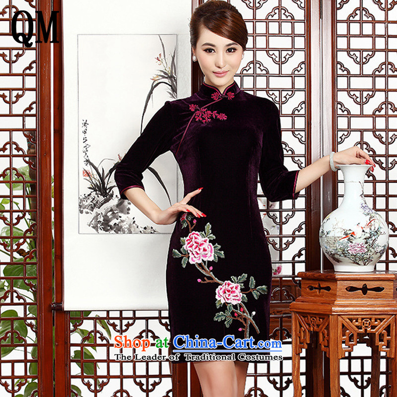 The end of the short of light and stylish retro mother embroidery cheongsam cheongsam dress Kim velvet wedding dress?AQE002?PURPLE?S