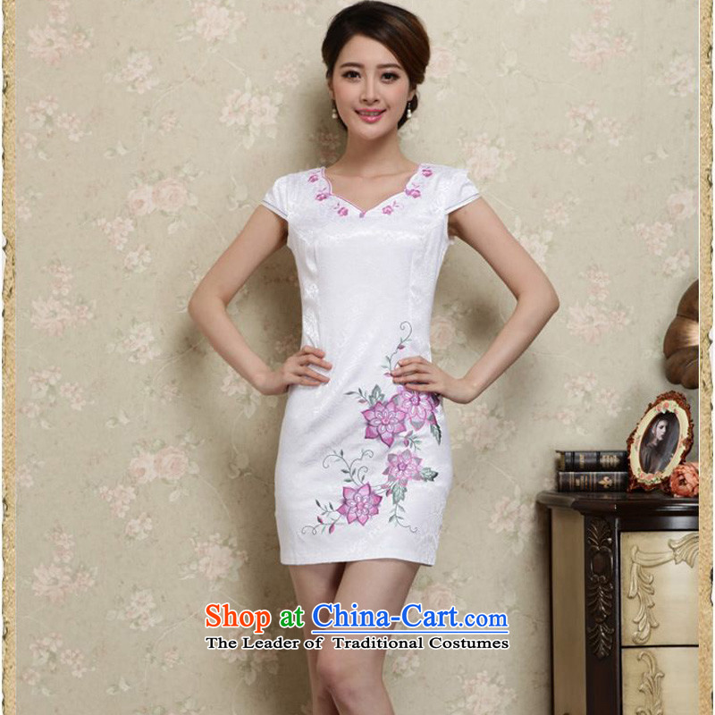 The 2015 summer-jae on new sleek improved qipao irregular collar short_ and video thin package Sau San Tong JAYT-27 replacing white qipao safflower?XXL
