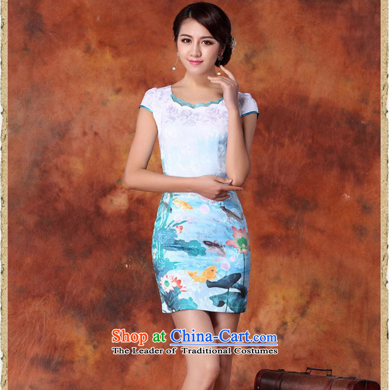 The 2015 summer-jae on the new ink painting fish south africa retro-lotus leaf floral round-neck collar and short of package Sau San Tong JAYT-29 load blue qipao M